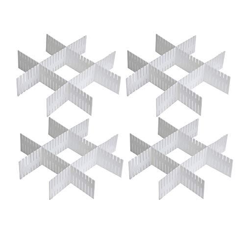 TRIXES Schubladen-Organizer - Kunststoff-Schubladen-Teiler - 16 Stück individuell zuschneidbare Schubladeneinlagen für Küchenbesteck Kleiderschränke Socken und Unterwäsche UVM - Kleiderlagerung