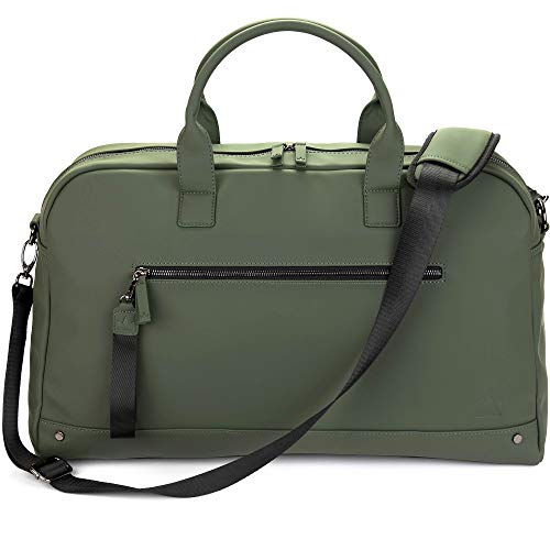 The Friendly Swede Weekender Reisetasche für Damen und Herren - Hochwertige Duffle Bag Reisetasche Handgepäck Tasche - VRETA Travel Bag - 35L, Veganes PU (Grün Matt)