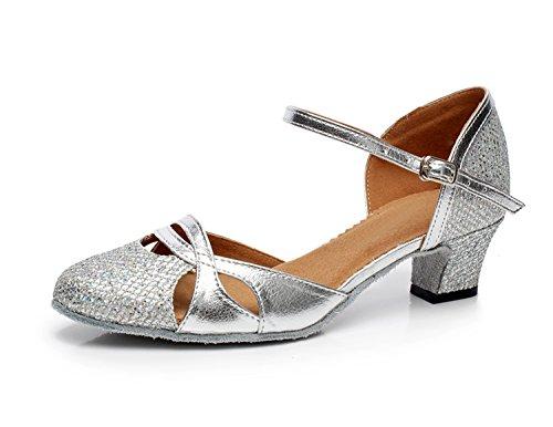 MINITOO QJ707 Damen-Tanzschuhe Mary Jane, glitzernd, modern, für Salsa, Tango, Ballroom, Lateinamerikanische Tänze, Silber - silber - Größe: 40.5 EU