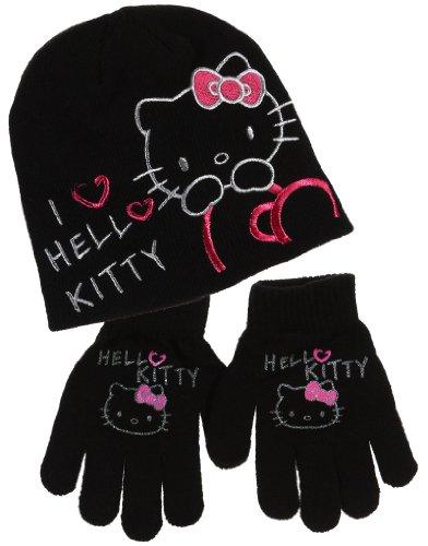 Bonnet et gants enfant fille I love Hello kitty 4 coloris de 3 à 9ans (54 (6-9 ans), Noir)