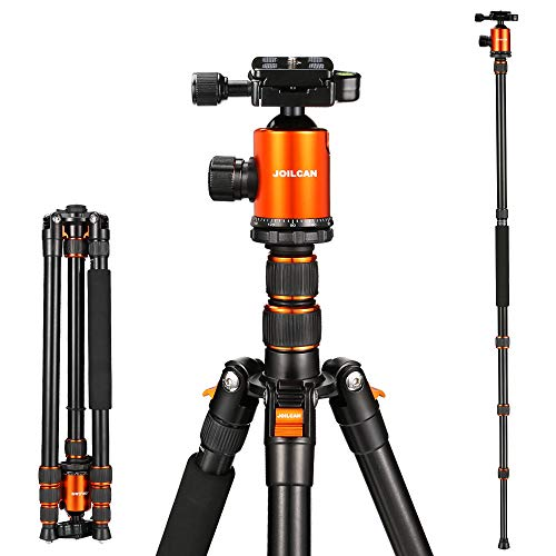 "Joilcan 80-inch Tripod for Camera, Aluminum Tripod for DSLR,Monopod, Lightweight iPhone & Android Phone Tripod with 360 Degree Ball Head Stable for Travel and Work 18.5""-80"",24lb Load (Mix)"
