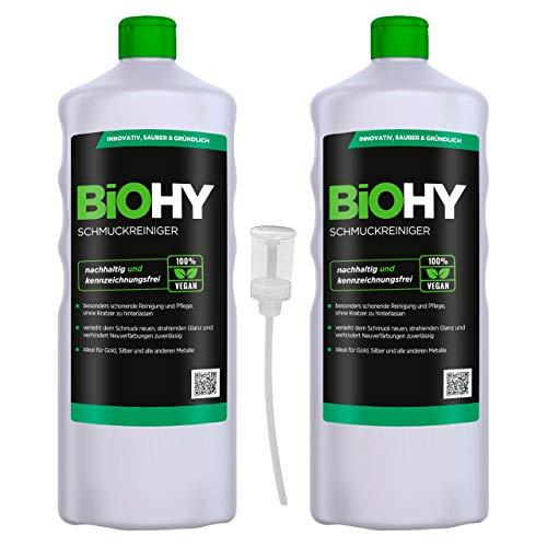 BiOHY Schmuckreiniger (2x1l Flasche) + Dosierer | AKTIVE GLANZFORMEL | Konzentrat für jedes Ultraschallgerät | Nachhaltige und schonende Reinigung für Uhren, Schmuck und Edelmetalle