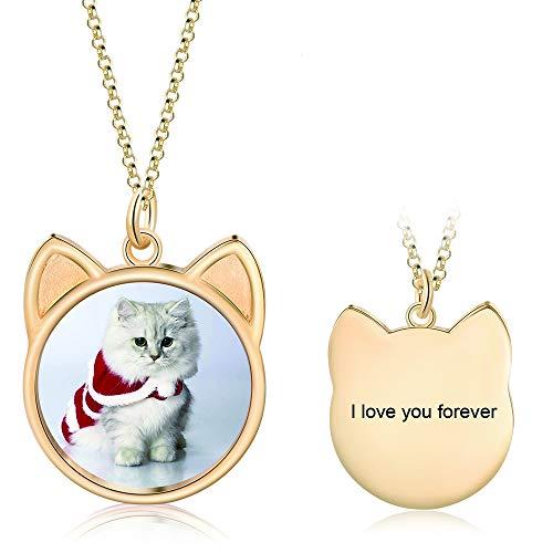 Collar Personalizado con Foto Grabado de Plata 925 Forma de Gatos Colgante Mujer Collar Joyería Regalo para el Día de la Madre Día de San Valentín (oro)