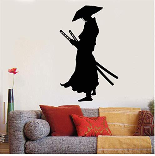 Vinyl Wandtattoo Krieger Samurai Katana Schwerter Aufkleber Wohnkultur Wandtattoos Japanische Comics Wohnzimmer Wandaufkleber 58X96Cm