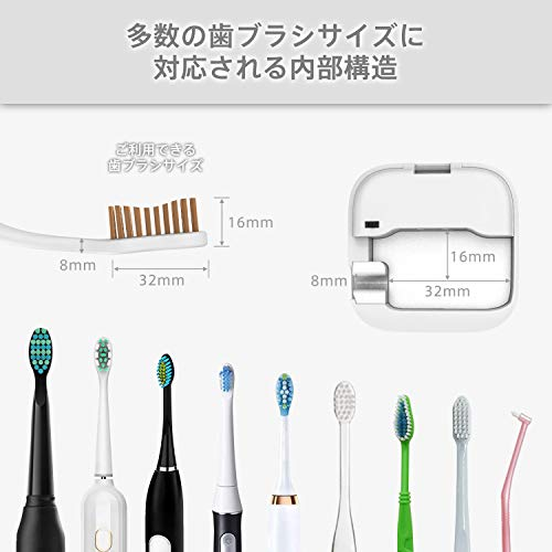 UV-C歯ブラシ除菌器CUBOR1紫外線LED99.9%除菌率IPX4防水小型軽量壁掛け・携行両用歯ブラシ除菌キャップ(ホワイト)
