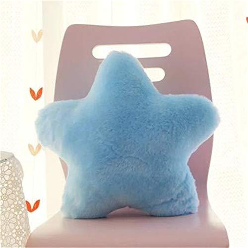 Amyseller Almohada de peluche con forma de estrella azul claro para niños, decoración de Navidad