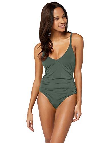 Amazon-Marke: Iris & Lilly Damen Figurformender Shaping Badeanzug, Mehrfarbig (Khaki), XXL, Label: XXL