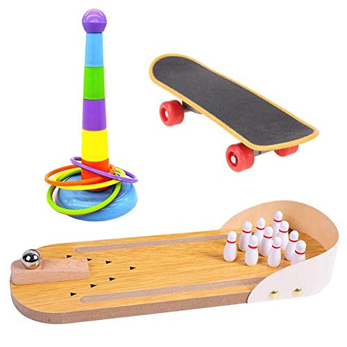 Sungpune Parrot Toy Bird Training Toy Set Mini Desktop Bowling Rings Skateboard Stand Intelligence Toy for Pet 3PCS