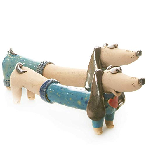Cute Pair of Ceramic Dachshunds Mr and Mrs for Dog Lovers Hand Sculptured Ornament in Teal Perfect for Weddings