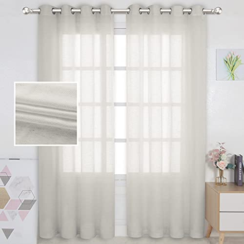 LORDTEX Linen Semi Sheer Curtains 2 Panels Grommet Drapes Privacy Sheer Panels with Light Filter Textured Draps for Bedroom/Living Room/Sliding Door,52 x 84 inch,Ivory