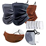 Dpaxt Bandana face mask Cover Scarf Turban Neck Warmer with Filter 3 Pack-3 Neck Gaiter with 6Pcs Carbon Filters PM2.5 Adjustable Ear Loop face Cover/Winter Thermal Neck Warmer for Men Women Kids