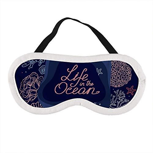 Draagbaar oogmasker voor mannen en vrouwen, met de hand getekend set van levensartikelen in de oceaan en tekst het beste slaapmasker voor reizen, dutje, geven u de beste slaapomgeving