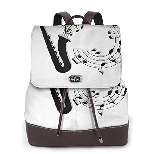 SGSKJ Rucksack Damen Saxophon 49, Leder Rucksack Damen 13 Inch Laptop Rucksack Frauen Leder Schultasche Casual Daypack Schulrucksäcke Tasche Schulranzen