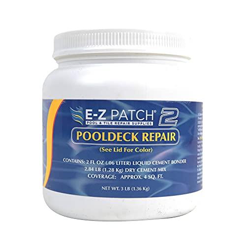 E-Z Patch 2 Pool Patch Repair Kit for Pool Decks & Patios - DIY Concrete Repair (White, 3 Pounds)