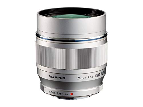 Olympus M.Zuiko Digital ED 75mm F1.8 Objektiv, lichtstarke Festbrennweite, geeignet für alle MFT-Kameras (Olympus OM-D & PEN Modelle, Panasonic G-Serie), silber