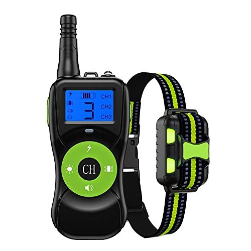 PQW Collar De Adiestramiento para Perros Collar Vibrante Remoto 2624 Pies De Carga USB IPX67 A Prueba De Agua 4 Modos De Adiestramiento Adecuados para Perros Pequeños, Medianos Y Grandes (Verde)