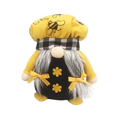 RK-HYTQWR Easter Bumble Bee Chef GNOME Scandinavian Tomte Nisse Elf Sueco Home Farmhouse Decoración de Cocina Estante Bandeja con gradas Decoraciones,Spring Bee Muñeca sin Rostro D,D