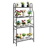 DOEWORKS Soporte de metal de 4 niveles, estante de exhibición de plantas, estante en forma de escalera, soporte para macetas para uso en interiores y exteriores, color negro