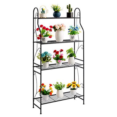 DOEWORKS Soporte de metal de 4 niveles, estante de exhibición de plantas, estante en forma de...