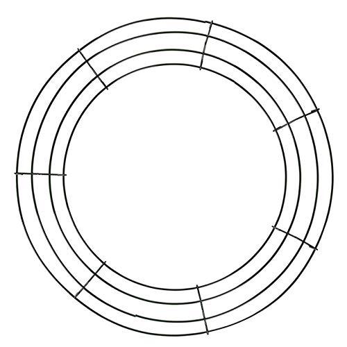 æ— Paquete de 3 marcos de corona de alambre de 40,64 cm, forma de corona de alambre negro para hacer coronas de alambre de Navidad, anillo de alambre de metal para manualidades, arreglos florales