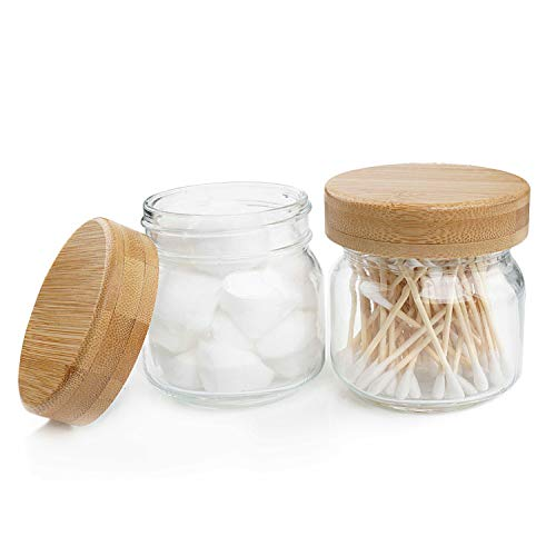 Pots d'apothicaire avec couvercles, ensemble d'accessoires de salle de bain Mason Jar, verre décor de ferme Récipient de lavabo rustique avec couvercle en bambou pour boule de coton-tige, lot de 2