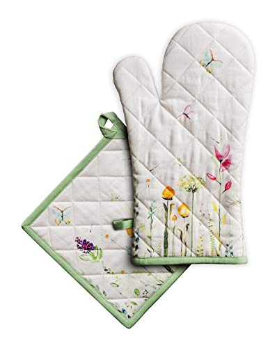 Maison d' Hermine Botanical Fresh 100% Cotton Set of Oven Mitt (7.5 Inch by 13 Inch) and Pot Holder (8 Inch by 8 Inch) for BBQ | Cooking | Baking | Grilling | Microwave | Barbecue | Spring/Summer