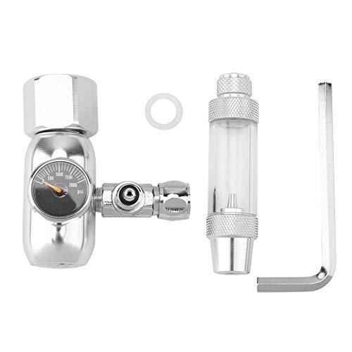 CO2 Aquarium Druckminderer Aquarium CO2 Druckregler CO2 Rückschlagventil Druckminderer Blasenzähler für Aquarium System(Silber)
