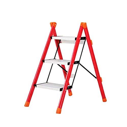 MLZWS Passo Piccola Scala a pioli passo Sgabello for adulti, Sturdy Heavy Duty che piega il mini Scala for la cucina Closet (Color : Red)
