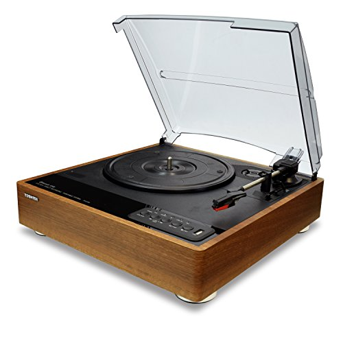 """Toshiba TY-LP30T Vinyl Record Player Turntable: 7.7"""" 3-Speed Bluetooth Turntables - Stereo Speakers, Encoder (Wood)"""