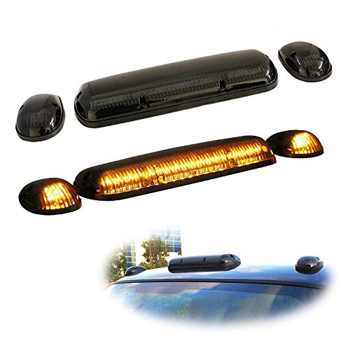 iJDMTOY 3pc-Set Black Smoked Cab Roof Top Marker Running Lamps w/Amber LED Lights Compatible With Truck Pickup 4x4 SUV