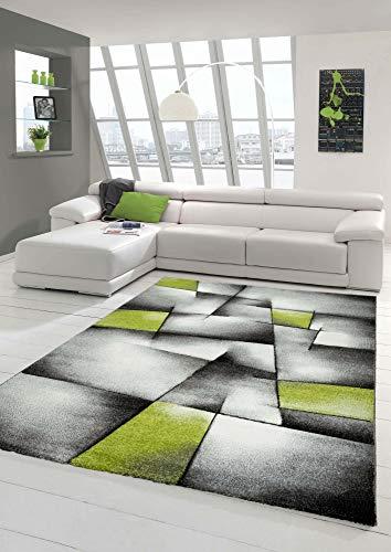 Designer Teppich Moderner Teppich Wohnzimmer Teppich Kurzflor Teppich mit Konturenschnitt Karo Muster Grün Grau Weiß Schwarz (200 cm Rund)