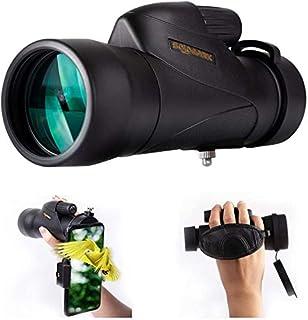 SOLOMARK 単眼鏡 望遠鏡 12X50高倍率 広角 12倍Bak4プリズムFMC 高解像度 コンサート バードウォッチング 防水霧 耐衝撃 スマートフォンアダプター リストバンド付き ブラック (1250)