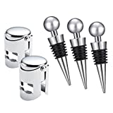 Wine Champagne Bottle Stopper, 5 Pieces Vacuum Sealer Saver Stainless Steel Plastic Wine Corks for Wine Collection Beer Saver Sealer No Spill, Fizz Saver