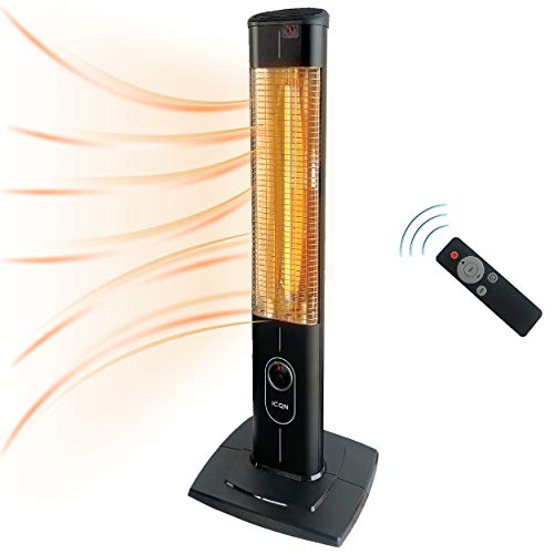 ICQN 2300 Watt Stand Heizstrahler | 4 Heizstufen mit Fernbedienung | Kohlenstoff Infrarotstrahler für Innen- & Außenbereich | Terrassenstrahler | IP20 | Digitalanzeige, Timer, Thermostat, Schwarz