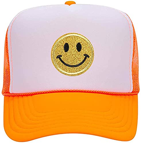 Lin Su Fashion Yellow Glitter Smiley Face Sequins Printing Neon High Crown Foam Mesh Back Trucker Hat-for Men and Women (Multicoloured-5)