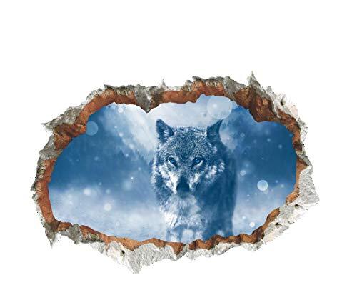 GLEDO -Pared Rota Luz De La Luna Lobo Horror Protección del Medio Ambiente Decoración Personalizada Sala De Estar Entrada PVC Impermeable Etiqueta De La Pared