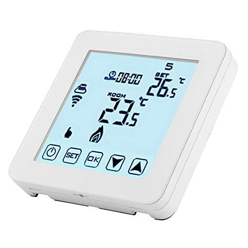 Yongenee Termostato Digital Inteligente WiFi Programable Calefacción Termostato Digital LCD Wirless Regulador de Temperatura Blanco Can Control Motorizado Válvula de Boquilla Esférica