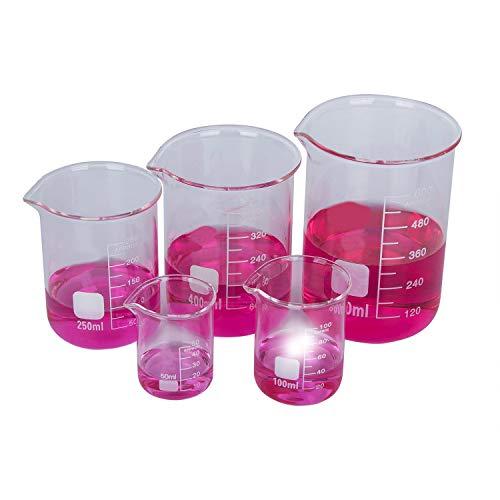 Becherglas Set,Hakkin,5 teilig Borosilikatglas Bechergläser Set Niedriger Formbecher mit klare Ausguss 50ML/100ML/250ML/400ML/600ML für Labor Messbecher