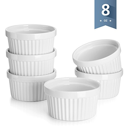 Sweese Porcelain Souffle Dishes, Ramekins - 8 Ounce for Souffle, Creme Brulee and Ice Cream - Set of 6, White