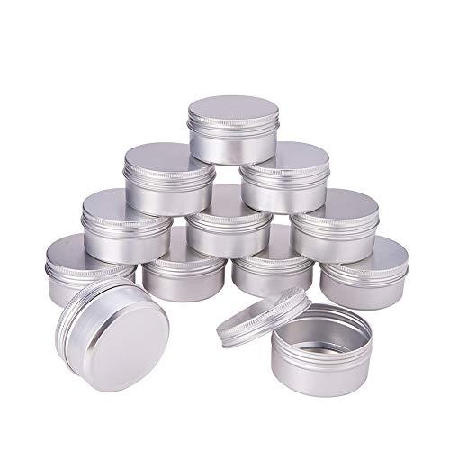 Unique WElinks Lot de 20 conteneurs de Maquillage vides de 80 ML - Bouteilles Rechargeables - Bocal Rond en Aluminium - pour Fard à paupières, Ongles, Poudre, Peinture, Bijoux