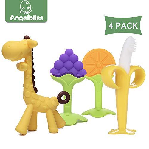 beißring für babys by ANGELBLISS, Baby Zahnen Spielzeug für Babys Kleinkinder- weiches Silikon, BPA-frei, natürliche organische beissring, Unisex(4er Pack)