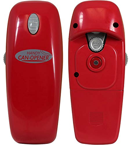 Hystrada Electric Can Opener - No Sharp Edge Handheld Can Opener - Battery Operated Can Opener - Easy One-Touch Operation Can Opener - Automatic Can Opener Works on All Types of Cans (Red)