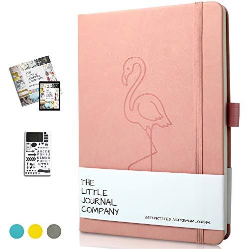 Bullet Journal - Dotted Notizbuch A5 Gepunktet - Notizbuch mit Schablone - Premium-Planer/Planner Tagebuch Diary Scrapbook Notebook zum Gestalten - Dickes Papier A5 - (Rosa Flamingo)