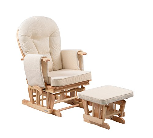 Sereno Nursing Glider maternity rocking chair with glide lock and footstool … (Natural)