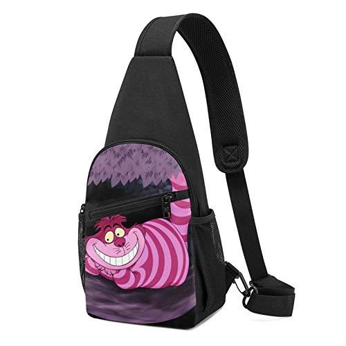 Mochilas de hombro con eslinga de bicicleta, Alicia en el país de las maravillas Cheshire Cat Chest Pack Bag Single Strap Anti-Theft Crossbody Daypack para hombre mujer