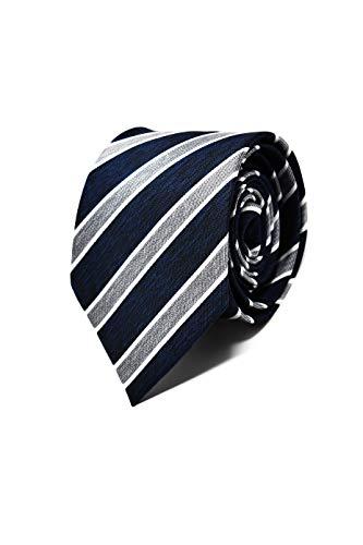 Oxford Collection Cravate Homme à rayures Bleu et Gris - 100% en Soie - Classique, Elégante et Moderne - (Idéale pour un cadeau, un mariage, avec un c