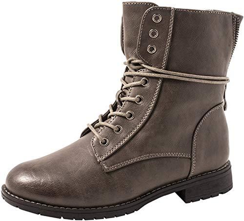 Elara Elara Damen Worker Boots Chunkyrayan KA16-22SL-Grau-37