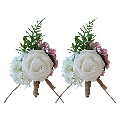 Tomaibaby 2pcs Wedding Flower Corsage Artificial Silk Rose Brooch Boutonniere Buttonholes Bride Suit Decor for Groom Wedding Ceremony Party