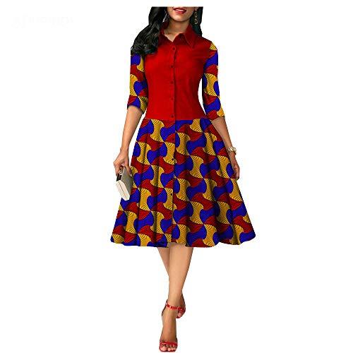 private afripride African Print Dresses for Women Formal Dashiki Ankara Party Dress A-line Shirt Dress Evening Dress 543 3 S/US8 (Apparel)