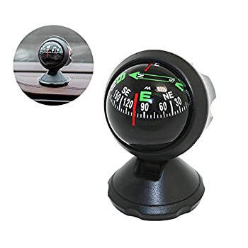 Pawaca Car Compass Ball Self-Adhesive Auto Dashboard Mini Compact Compass and Decorative Ornaments Universal for Most Vehicles Black